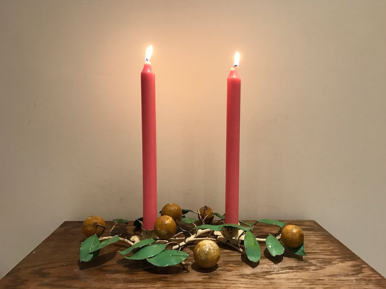Mid Century Toleware Candle Center Piece