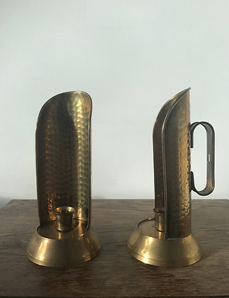 A Pair of Brass Wall Mounted Chamber Candle Sticks