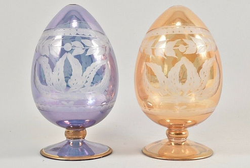 Pair of Decorative Etched Glass Eggs