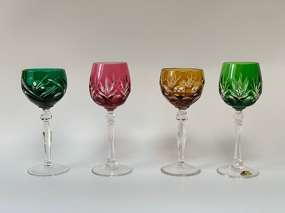 Set of Four Crystal Cut Crystal Glasses