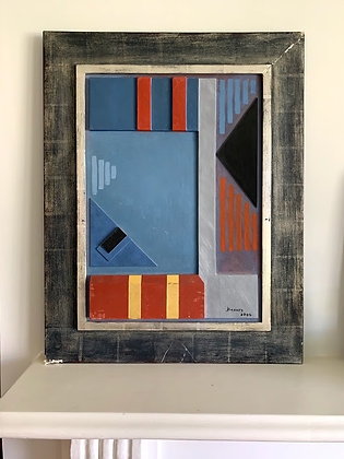 Relief Image, Geometric Shapes, Painted, Signed '02