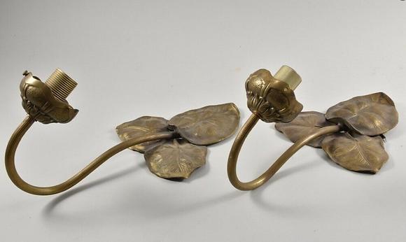Art Nouveau Brass Sconces