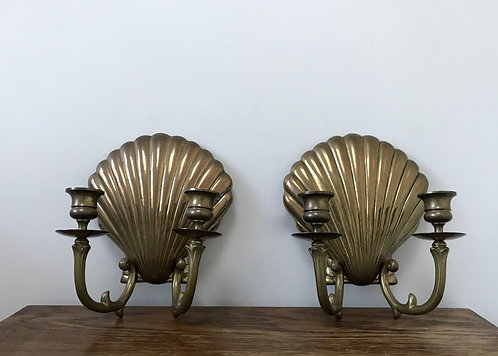 A pair of Brass Shell Sconces
