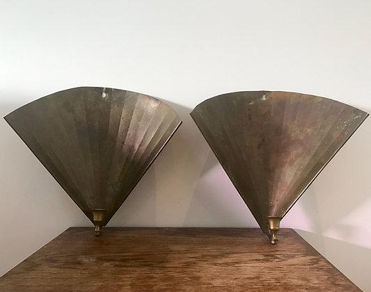 A Pair of Brass Fan Shaped Sconces
