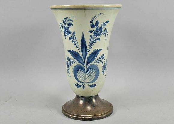 Antique Ceramic Vase With Metal Vase
