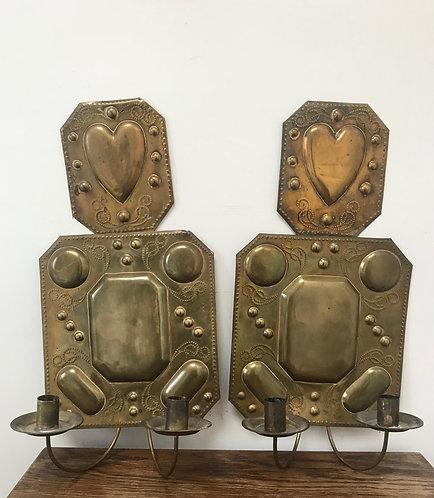Pair of Brass Dutch Sconces