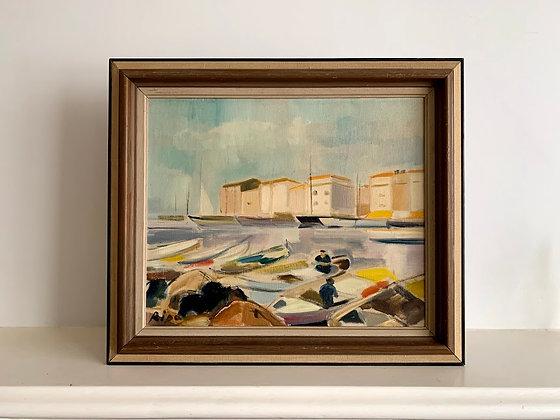 Framed Oil, Southern Harbour Scene, Hans Ripa