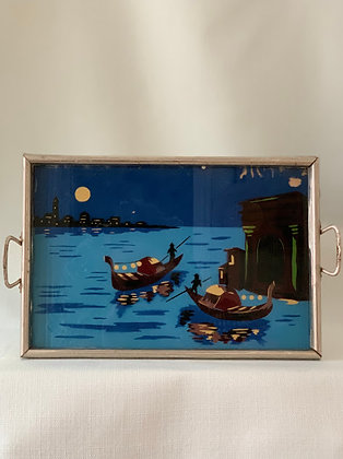 Tray With Reverse Glass Painting, 1930s