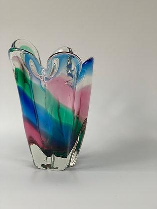 Heavy Art Glass Vase, Multi Coloured