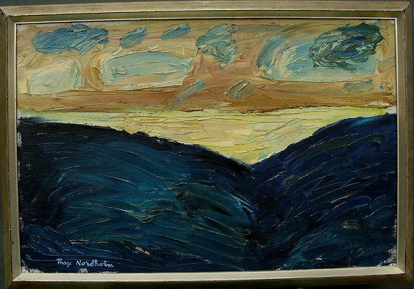 Framed Oil Landscape, by Thage Nordholm 1927-1990