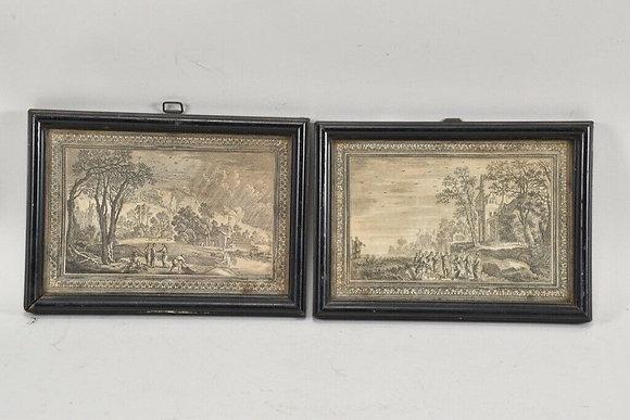 Pair of Baroque Etchings, Religious Scenes, 18th Century