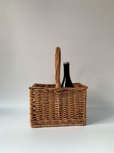 Vintage Wicker Wine Bottle Basket