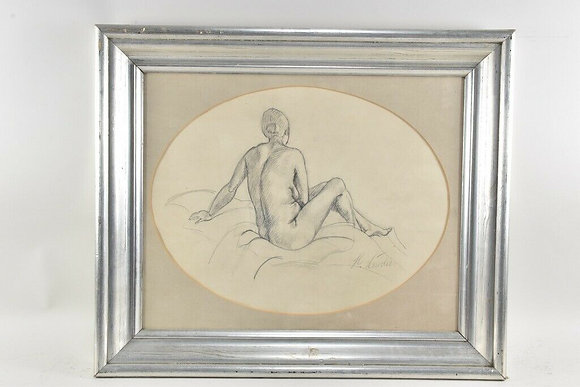 Female Nude, Pencil, Framed, Early 20th Century