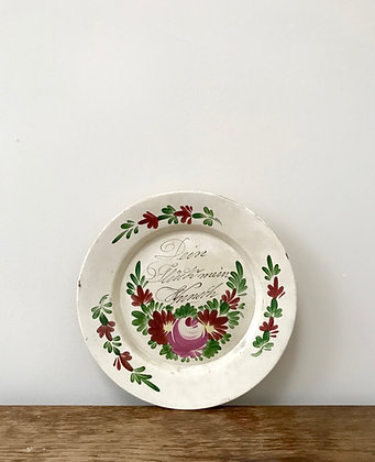 Antique 19th Cent Ceramic Pottery Plate Hand Painted Greeting German Flowers