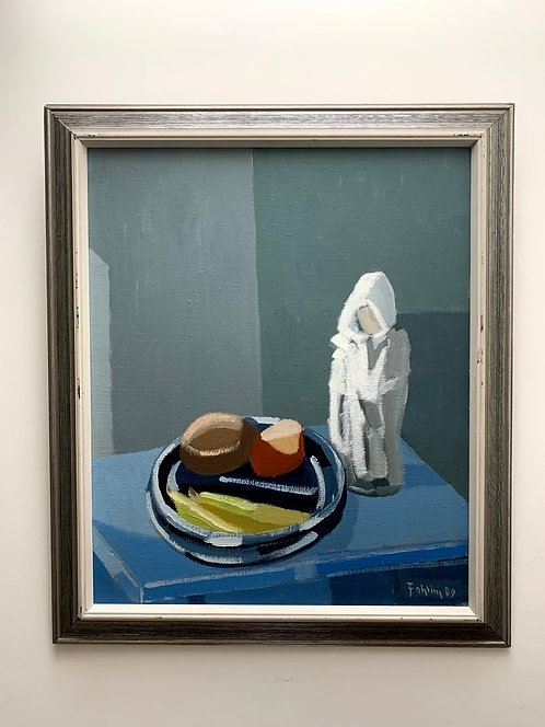 Gunnar Fohlin * 1940. Still life with fruit plate and figure, dated 1989
