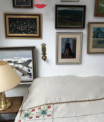 Antiqued Unbleached Scottish Linen Bedspread