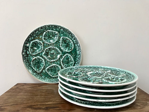 Midcentury French Barbotine Faïence Niderviller Mousse Oyster Plates, Set of Six