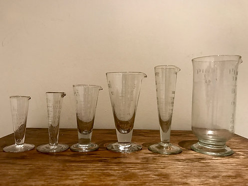 Vintage Glass Measuring Glasses Cones On Stand, Different Makers