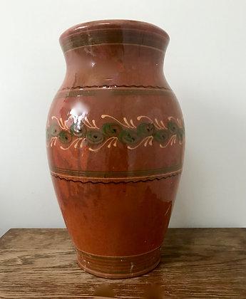 Large Old Vintage Redware Slipware Pottery Vase