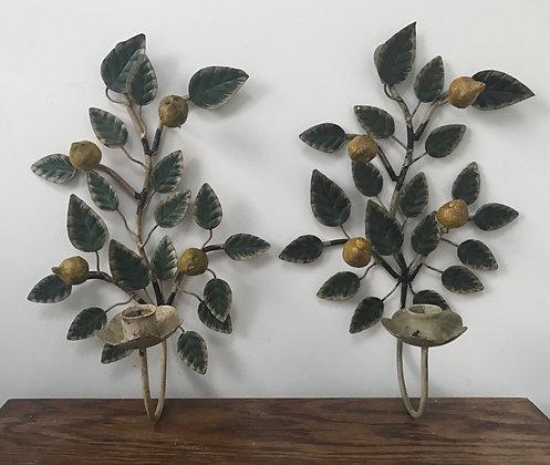 A Pair of Lemon Toleware Sconces