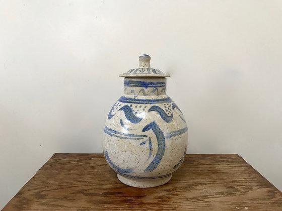 Large Studio Stoneware Lidded Storage Jar