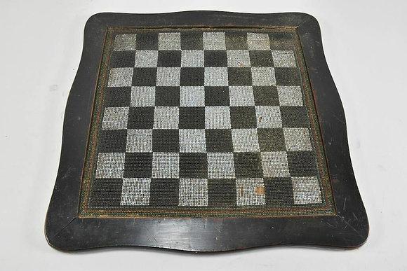 Biedermeier Chessboard, Bead Embroidery