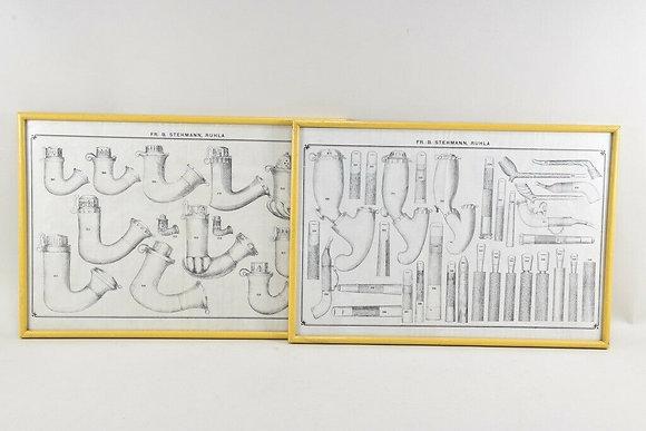 2x Lithography, Tobacco Pipes, Stehmann, Ruhla