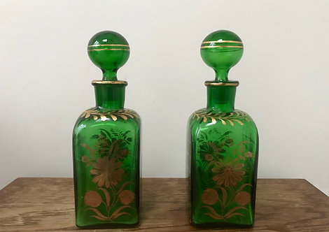Pair of Vintage Handmade Green Glass Decanters