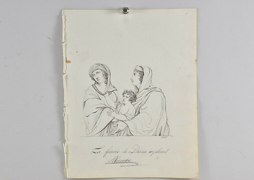 Indian ink drawing , supplicating women of Darius, dated 1818