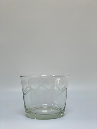 Vintage Chrystal Etched Glass Ice Bucket Ice Bowl