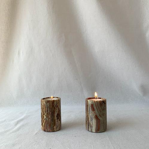 Pair of Onyx Tea Light Holders