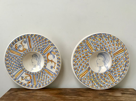 Wall Plates Faience Plate x 2 with Lady Portrait Design
