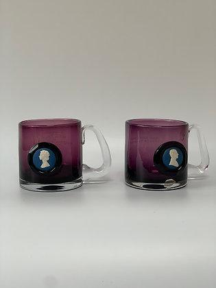 Set of Two Silver Jubilee Wedgwood Jasperware Purple Glass Mug