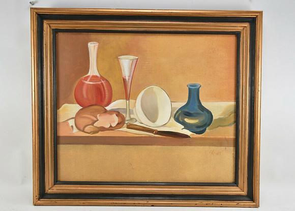 Still Life Oil, Framed & Signed MR, 91'