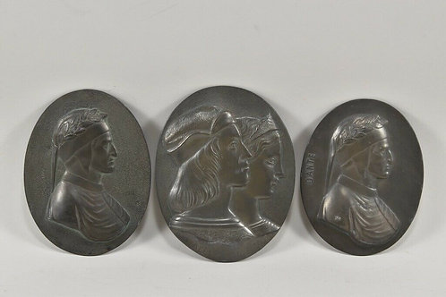A Collection of  Three Antique Bronze Portrait Plaques