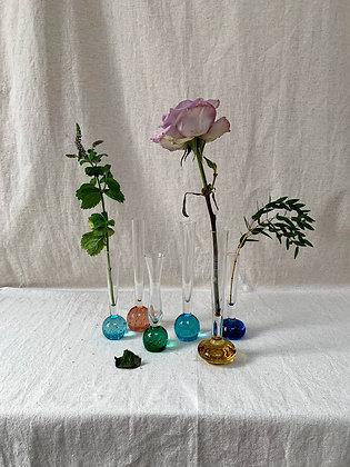 Six Glass Bud Vases