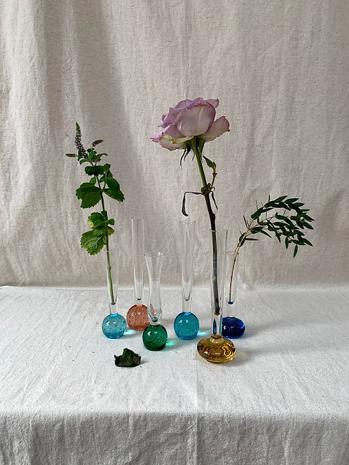 Six Glass Bud Vases