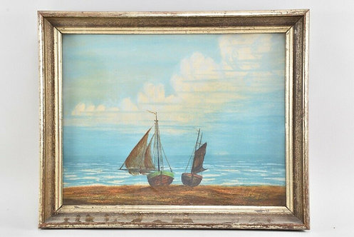 Framed Pastel Picture of Boats on The Beach, 20th Century, Signed