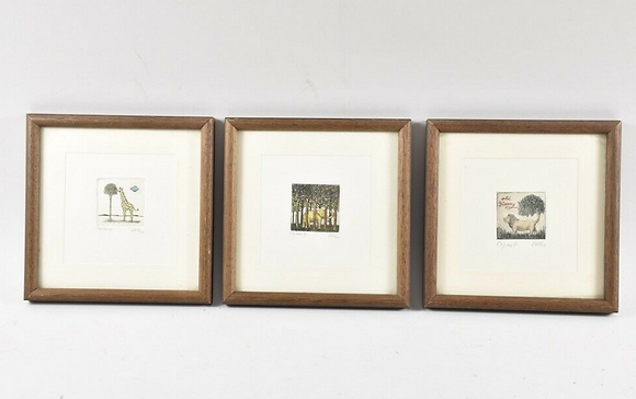 3x miniature etching, hand signed Volk Date '77