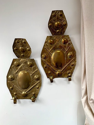 A Pair of Swedish Brass Wall Sconces, 19th Century