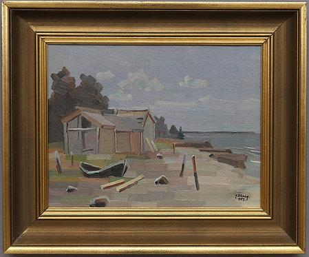 Oil on Canvas, Fishing Boats, by Josef Öberg