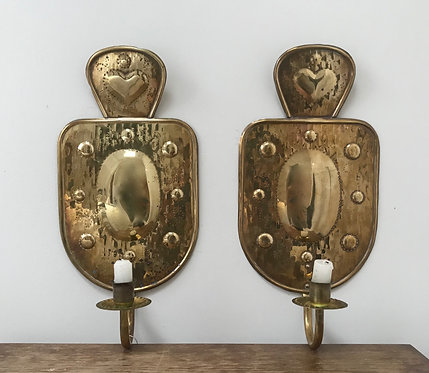 A Pair of Swedish Brass Sconces