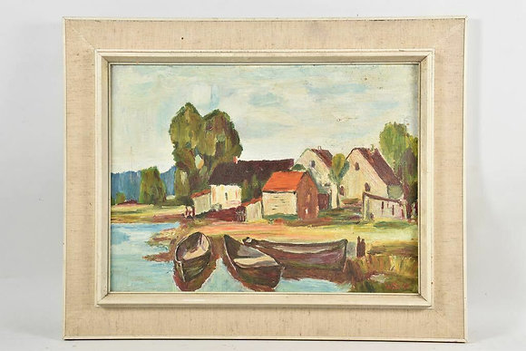 Framed Oil Painting, Fishing Boats  monogram. WS,