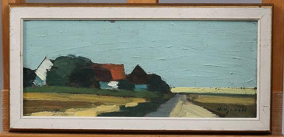 Framed Oil on Panel, signed Hillgrund