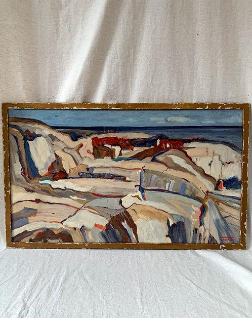 """Käringön 1955"", oil on panel, signed byErik Unström"