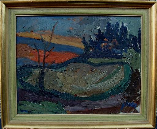 Göte Plahn 1913-1999, Expressive Evening Landscape, c. 1950