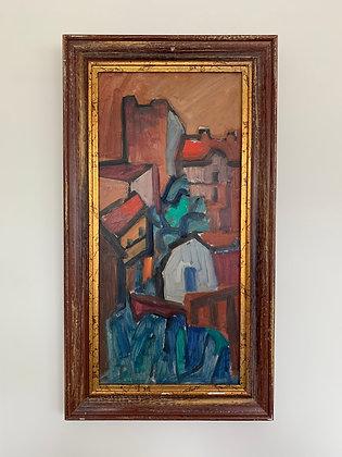 Framed Oil, Town Scene, Nils Bäcklin 1913-1989,
