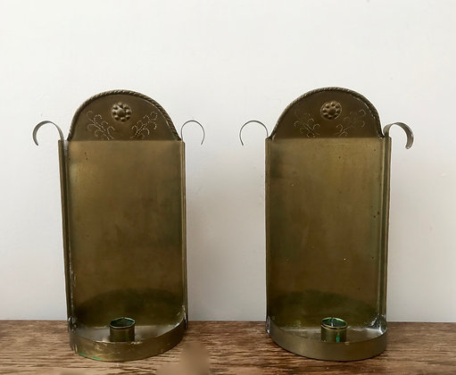 Pair of Brass Swedish Sconces early 1900s