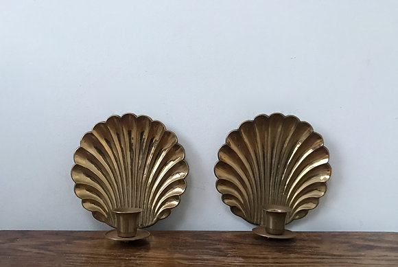 Vintage Solid Brass Shell Wall Sconces