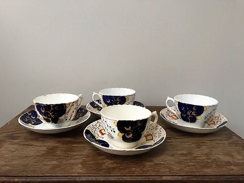 Gaudy Welsh Blairs China c1900 Cups Saucers Tulip Pattern Staffordshire